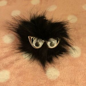 Puffball Keychain/bag charm with moving eyes
